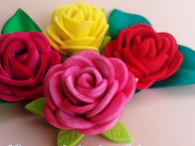 Como hacer rosas de foami o goma eva - Flores sencillas de goma eva ...